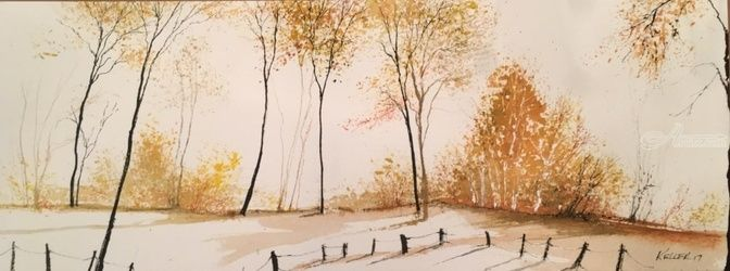 Autumn Slope, Paintings, Impressionism, Landscape, Watercolor, By Stephen Keller