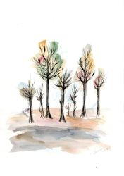 Autumn trees 4, Paintings, Abstract,Impressionism, Landscape,Nature, Ink,Watercolor, By Aniko Hencz