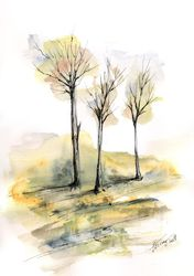 Autumn trees 6, Paintings, Abstract,Impressionism, Landscape, Ink,Watercolor, By Aniko Hencz