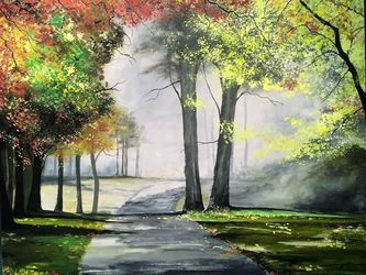 Autumn Venture, Paintings, Impressionism, Landscape, Watercolor, By Stephen Keller