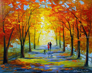 Autumn walk, Paintings, Fine Art,Impressionism, Cityscape,Fantasy,People, Canvas,Oil,Painting, By Olha   Darchuk