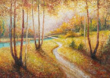 AUTUMN WALK, Paintings, Fine Art,Impressionism, Land Art,Landscape,Nature, Canvas,Oil,Painting, By Emilia Milcheva
