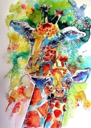 Baby giraffe with mammy, Paintings, Impressionism, Animals, Watercolor, By Kovacs Anna Brigitta