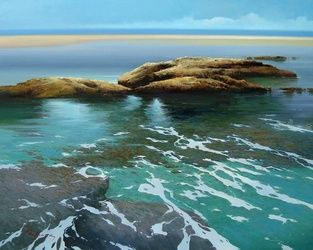 bajamar, Paintings, Realism, Seascape, Canvas,Oil, By Jose Higuera