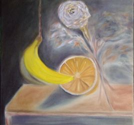 Banana, Paintings, Fine Art,Impressionism, Floral,Still Life, Canvas,Oil, By Mike Chaple