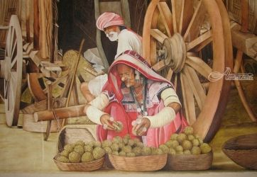Banjaras Selling Fruits, Paintings, Realism, Composition, Oil, By Janakiraman B