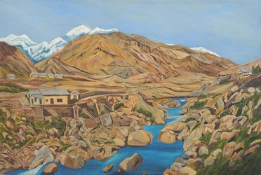 Barren Mountains, Paintings, Expressionism,Realism, Landscape, Canvas, By Ajay Harit