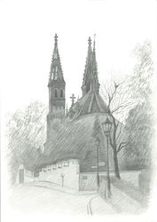 Basilica of Saints Peter and<br>Paul, Vysehrad, Graphic, Fine Art,Impressionism,Realism, Architecture, Pencil, By Ivan Klymenko