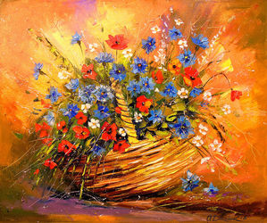 Basket with flowers, Paintings, Impressionism, Botanical,Floral,Nature, Canvas,Oil,Painting, By Olha   Darchuk