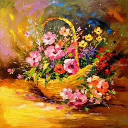 Basket with flowers, Paintings, Impressionism, Still Life, Canvas,Oil,Painting, By Olha   Darchuk