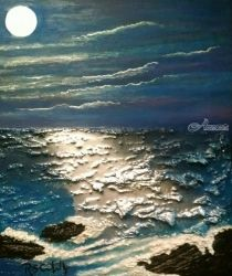Basking Moonlight, Decorative Arts,Paintings, Expressionism,Impressionism, Environmental art,Seascape, Acrylic,Mixed,Oil,Painting, By Robert Crawford