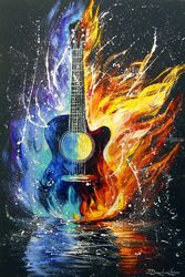 Bass guitar, Paintings, Abstract,Impressionism, Inspirational,Music, Canvas,Oil,Painting, By Olha   Darchuk