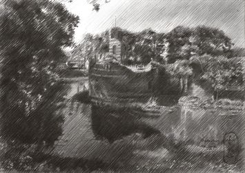 Batenburg – 02-08-20, Drawings / Sketch, Fine Art,Impressionism,Realism, Figurative,Historical,Inspirational,Landscape,Nature, Pencil, By Corne Akkers