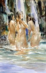 Bathers, Paintings, Fine Art,Realism, Figurative,People, Watercolor, By Jun Martinez