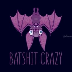 Batshit Crazy Wacky Cartoon<br>Bat, Digital Art / Computer Art, Pop Art, Animals,Cartoon,Humor, Digital, By John Schwegel