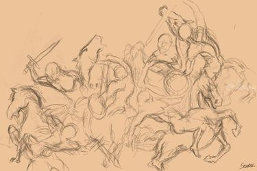 battle drawing, Digital Art / Computer Art, Fine Art,Modernism,Realism, Anatomy, Digital, By Nebojsa Strbac
