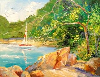 Beach and rocks and sea, Paintings, Fine Art,Impressionism, Botanical,Landscape,Nature,Wildlife, Canvas,Oil,Painting, By Olha   Darchuk