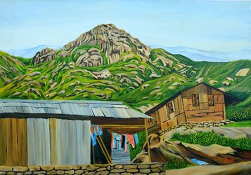 Beautiful Sikkim, Paintings, Expressionism,Photorealism,Realism, Landscape, Canvas, By Ajay Harit