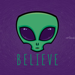 Believe Alien Head, Digital Art / Computer Art,Illustration, Pop Art, Cartoon,Fantasy, Digital, By John Schwegel