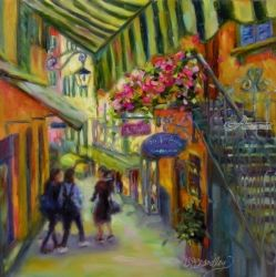 Bella Bellagio, Illustration, Fine Art,Impressionism, Architecture,Daily Life,Figurative,People, Oil, By Chris Brandley