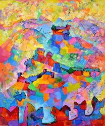 Bellinzona, Paintings, Expressionism,Impressionism, Cityscape, Oil, By Vyara Tichkova