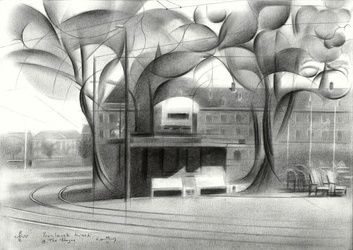 Berlage's kiosk (at The Hague)<br>- 22-06-17 (sold), Drawings / Sketch, Abstract,Cubism,Fine Art,Impressionism,Realism,Surrealism, Architecture,Cityscape,Composition,Figurative,Inspirational, Pencil, By Corne Akkers