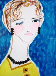 Bernice, Paintings, Abstract,Impressionism,Minimalism,Modernism,Primitive, Portrait, Acrylic, By Lianne Kocks
