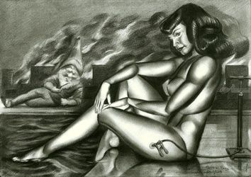 Bettie Page - 20-05-16, Drawings / Sketch, Abstract,Cubism,Fine Art,Realism,Surrealism, Anatomy,Composition,Erotic,Figurative,Humor,Inspirational,Nudes,People, Pencil, By Corne Akkers