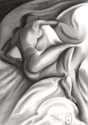 Between the sheets - 21-06-19, Drawings / Sketch, Cubism,Fine Art,Impressionism,Realism, Anatomy,Composition,Erotic,Figurative,Inspirational,Nudes,People, Pencil, By Corne Akkers