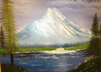 Biggest Mountain, Paintings, Fine Art, Landscape, Canvas,Oil,Painting, By Lana Fultz