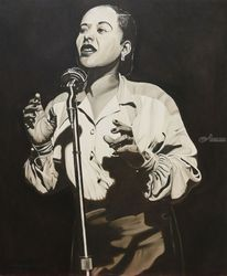 Billie Holiday, Paintings, Fine Art,Realism, Figurative,Music,Portrait, Oil, By Rick Seguso
