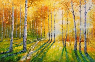Birch grove, Paintings, Impressionism, Botanical,Landscape,Nature,Wildlife, Canvas,Oil,Painting, By Olha   Darchuk