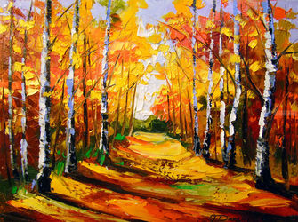 Birch grove, Paintings, Fine Art,Impressionism, Botanical,Landscape,Nature, Canvas,Oil,Painting, By Olha   Darchuk