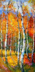 Birch in sunlight, Paintings, Expressionism,Fine Art,Impressionism, Botanical,Landscape,Nature, Canvas,Oil,Painting, By Olha   Darchuk