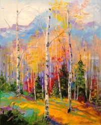 Birch on the edge, Paintings, Impressionism, Land Art,Landscape,Nature, Canvas,Oil,Painting, By Olha   Darchuk