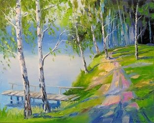 Birch on the river, Paintings, Impressionism, Botanical,Landscape,Nature, Canvas,Oil,Painting, By Olha   Darchuk