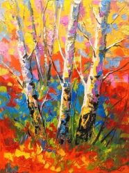 Birch trees, Paintings, Impressionism, Botanical,Landscape,Wildlife, Canvas,Oil,Painting, By Olha   Darchuk