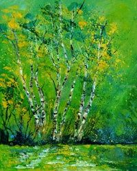 Birch trees 4551, Paintings, Expressionism, Botanical, Canvas, By Pol Ledent