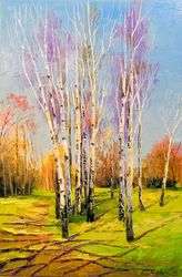 Birch trees on a Sunny spring<br>day, Paintings, Impressionism, Botanical,Landscape,Nature, Canvas,Oil,Painting, By Olha   Darchuk