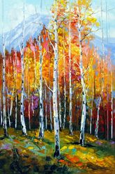 Birches by the mountains, Paintings, Fine Art,Impressionism, Botanical,Landscape,Wildlife, Canvas,Oil,Painting, By Olha   Darchuk