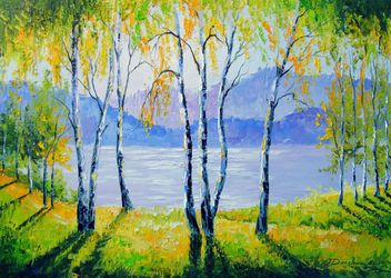 Birches by the river, Paintings, Expressionism,Fine Art,Impressionism, Botanical,Land Art,Landscape,Nature, Canvas,Oil,Painting, By Olha   Darchuk