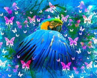 Bird in color, Digital Art / Computer Art, Fine Art, Botanical, Canvas,Digital, By Ata Alishahi