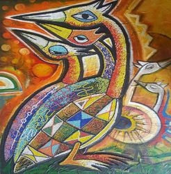 Birds, Paintings, Abstract, Animals, Mixed, By Akeem Agbelekale