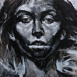 Black and white female<br>portrait, Paintings, Abstract, Portrait, Acrylic, By Anastasiya Valiulina