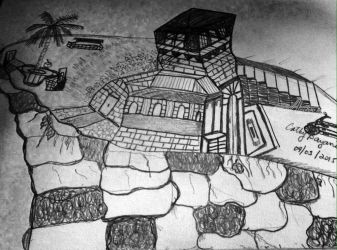 Black And White Sketch: Another Top of the Cliff House