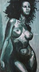 Black pearl, Paintings, Fine Art,Impressionism,Photorealism,Realism, Erotic,Nudes,People, Canvas,Oil,Painting, By Kateryna Bortsova