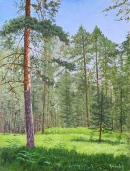 Black Pine, Paintings, Fine Art,Photorealism,Realism, Landscape,Nature, Oil,Wood, By Dejan Trajkovic