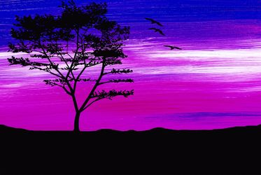 Black tree with birds<br>silhouette, Digital Art / Computer Art, Commercial Design, Landscape, Digital, By Rosa C
