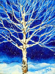 Blanket of Stillness Aspen<br>Tree Winter Snowing, Paintings, Expressionism, Landscape, Acrylic, By Jackie Carpenter