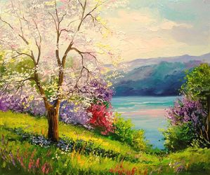 Blooming Apple tree on the<br>river Bank, Paintings, Expressionism,Impressionism, Botanical,Figurative,Landscape,Wildlife, Canvas,Mixed,Painting, By Olha   Darchuk